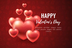 Valentines Day Background with glossy hearts. Vector illustration for gift cards, wallpaper, flyers, invitation, posters, brochure, website banners Stock Photo