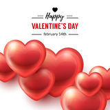 Valentines Day Background with glossy hearts. On white and typographic text design. Vector illustration Royalty Free Stock Photography