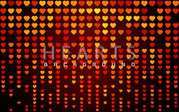 Valentines day background with glossy red and golden hearts on dark. Vector illustration royalty free illustration