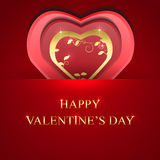 Valentines day background with gold hear Stock Image