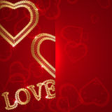 Valentines day background with gold laces and hear Stock Images