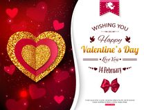 Valentines Day background with gold and red hearts Royalty Free Stock Images