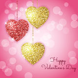 Valentines day background with gold and red hearts. Shining glitter textured hearts on a pink background. Royalty Free Stock Images
