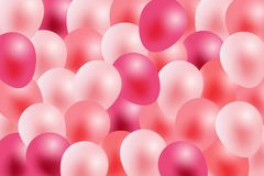 Valentines day background, greeting in white paper and pink ribbon with flying realistic balloons. stock illustration