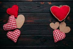 Valentines day background with handmaded hearts over wood. Top v royalty free stock photo