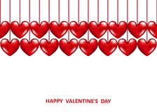 Hanging  realistic 3d  red  hearts. Valentines day  background with  hanging  realistic 3d  red  hearts. Vector  illustration for  party invitation  flyer Stock Photos