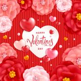 Valentines Day Background. Happy Valentines day background with decorative red and pink flowers and hearts. Template for greeting card, calendar, banner, poster Stock Images