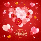 Valentines Day Background. Happy Valentines day background. A big heart made of decorative red and pink flowers of roses. Template for greeting card, calendar Royalty Free Stock Image