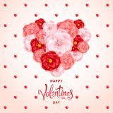Valentines Day Background. Happy Valentines day background. A big heart made of decorative red and pink flowers of roses. Template for greeting card, calendar Stock Images