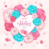 Valentines Day Background. Happy Valentines day background with decorative red, pink and turquoise flowers and hearts. Template for greeting card, calendar Royalty Free Stock Photos