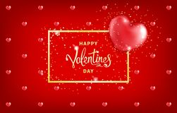Valentines Day Background. Happy Valentines Day background with gold frame and big red heart - symbol of love.Template for greeting card, calendar, banner Royalty Free Stock Photos