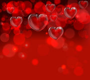 Valentines Day Background Header. A red valentines day hearts header backgroundwith bokeh effects Royalty Free Stock Photo