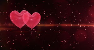 Valentines day background. Valentines day heart balloons on red background stock footage