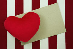 Valentines day background with heart and craft paper Stock Images
