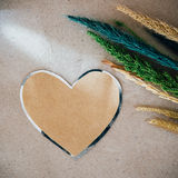 Valentines day background with heart and flower over wood  backg Stock Images