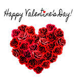 Valentines Day Background. Heart made of red roses. Royalty Free Stock Images