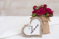 Valentines day background. With heart and roses Royalty Free Stock Photography