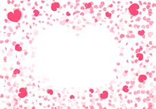 Valentines day background, heart shape frame, paper art confetti falling paper decoration of love vector abstract illustration royalty free illustration
