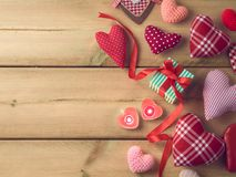 Valentines day background. With heart shapes and gift box. Top view Royalty Free Stock Image