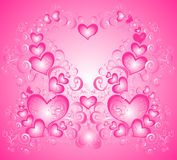 Valentines day background with heart, vector. Valentines day background with heart and floral ornaments, vector illustration Stock Photography