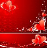 Valentines Day background with hearts and florals vector illustration