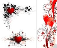 Valentines Day background with hearts and flower vector illustration