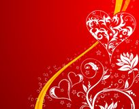 Valentines Day background with hearts and flowers Stock Images