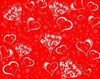 Valentines Day background with hearts and flowers Stock Photo