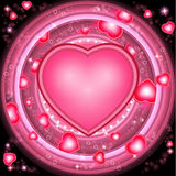 Valentines day background with hearts and round pink frams Royalty Free Stock Photos