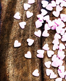 Valentines Day background with hearts. Sugar Hearts on wooden vi Royalty Free Stock Photos