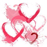 Valentines day background with hearts. Pink color and grunge textured style royalty free illustration