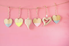 Valentines day background. hearts on wooden background Royalty Free Stock Photos
