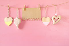 Valentines day background. hearts on wooden background Stock Images