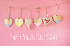Valentines day background. hearts on wooden background Royalty Free Stock Images