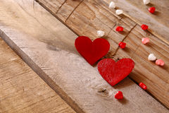 Valentines day background. hearts on wooden table Royalty Free Stock Photos