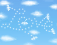 Valentines day background Love with dragonflies. Valentines day background with Love drawn by dragonflies in a clear blue sky. Love is in the air Royalty Free Stock Images