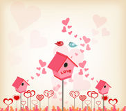 Valentines day background with lovely birdhouse Royalty Free Stock Image