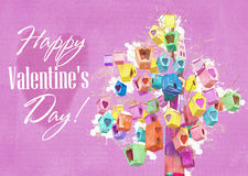 Valentines day background with lovely birdhouses heart-shaped entrance. Card, banner Valentine`s Day, decorated birdhouses hanging Royalty Free Stock Photo