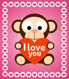 Valentines day background with monkey Stock Photos