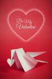 Valentines day background with origami dove and hearts Royalty Free Stock Photos
