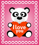 Valentines day background with panda Stock Image
