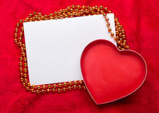 Valentines Day background with paper card on red Royalty Free Stock Images