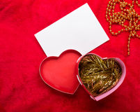 Valentines Day background with paper card on red Royalty Free Stock Photo