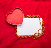 Valentines Day background with paper card on red Stock Photo