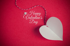 Valentines day background with paper cut heart and greeting mess Royalty Free Stock Photo
