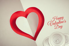 Valentines day background paper cut hearts and roses Stock Photo