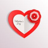 Valentines day background with paper hearts and. Flower. Vector illustration stock illustration