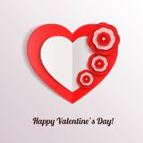 Valentines day background with paper hearts and. Flower. Vector illustration vector illustration