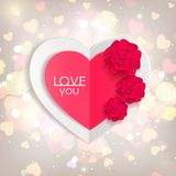 Valentines day background with paper hearts and. Flowers. Shining background  with blurred bokeh lights. This vector illustration can be used as greeting card stock illustration
