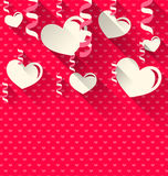 Valentines Day background with paper hearts and serpentine, tren Royalty Free Stock Images